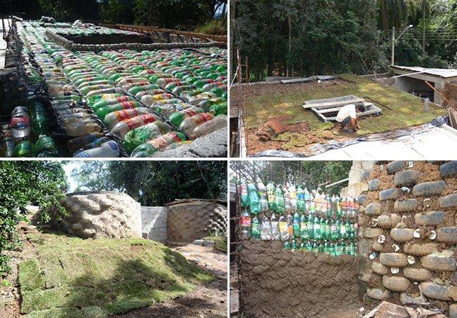 Casa ecológica é construída em SP com pneus, garrafas PET e latas de alumínio