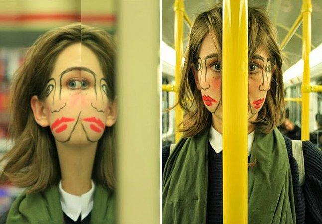 Mulher de duas caras é revelada em ensaio fotográfico inovador
