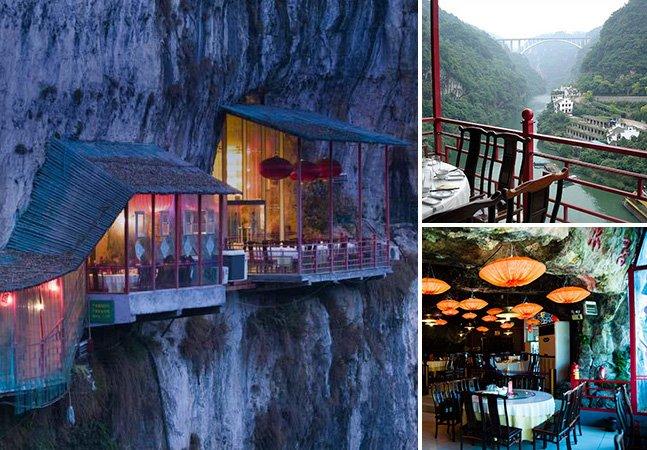 O fantástico restaurante que fica na encosta de uma montanha na China