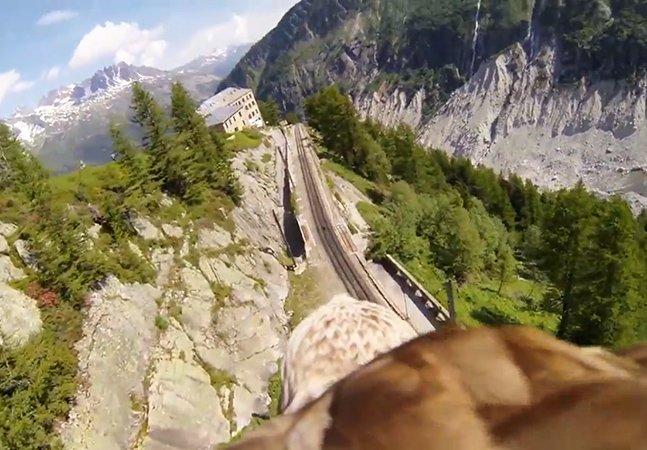 Vídeo mostra como é voar como uma águia no meio de montanhas