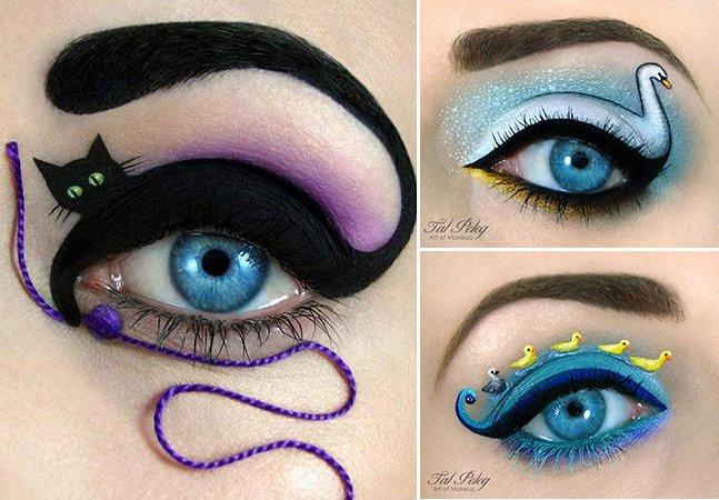 Artista usa maquiagem pra criar incríveis cenários na pálpebra
