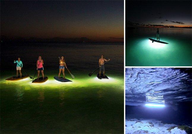 Sistema ilumina pranchas de Stand-up Paddle pra praticantes noturnos