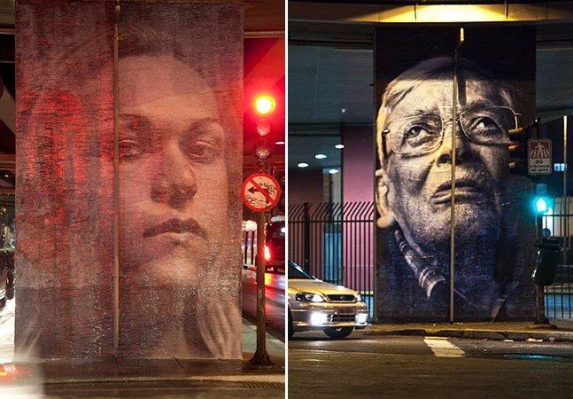 Minhocão em SP ganha galeria de arte a céu aberto com rostos dos moradores