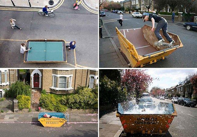 O criativo que transforma caçambas de lixo em espaços produtivos pra cidade