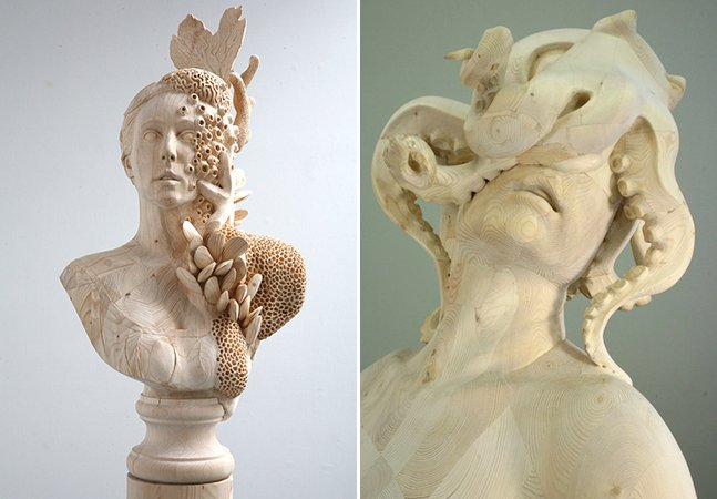 Artista cria esculturas surreais de figuras feitas de madeira