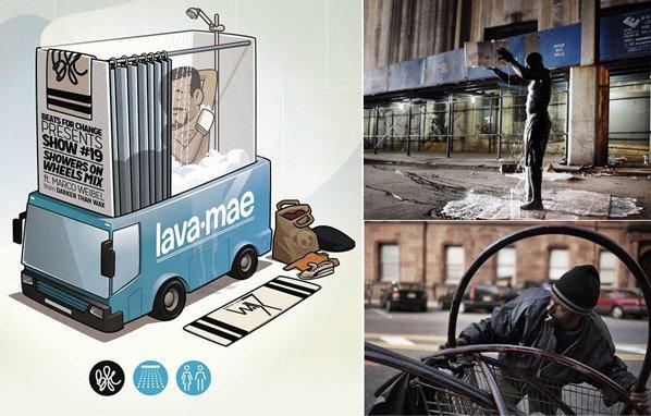 Ônibus adaptados oferecem banho grátis para moradores de rua