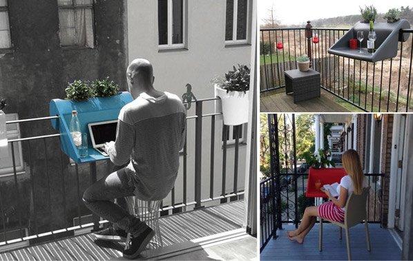 Mesa inovadora portátil transforma a sua varanda em escritório