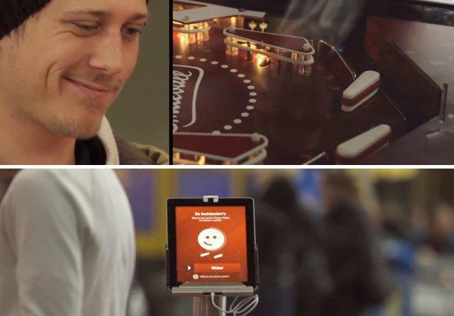 Empresa faz ação com pinball controlado por sorrisos