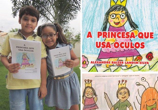 Menino de 7 anos escreve livro para irmã gostar de usar óculos