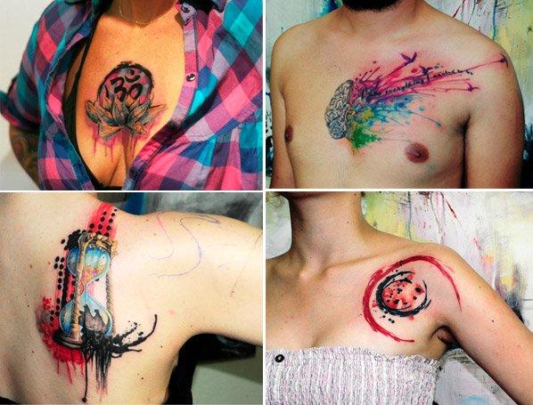 Tatuagens coloridas inspiradas em aquarela do artista Koray Karagözler