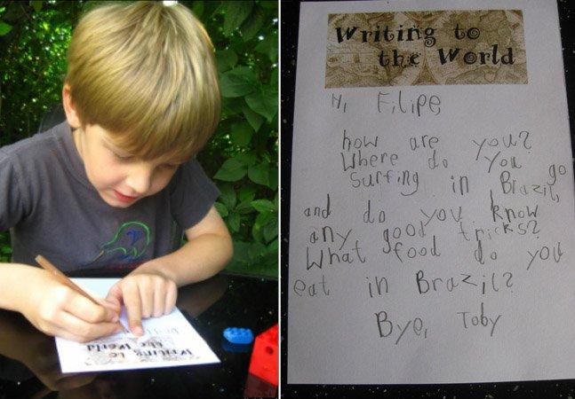 O menino de 5 anos que já escreveu cartas à mão para boa parte do mundo