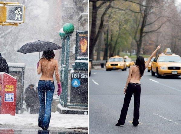 Série fotográfica mostra mulheres fazendo topless no meio da cidade