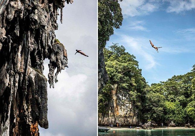 Impressionantes saltos de penhascos nos quais os atletas chegam a 90km/h