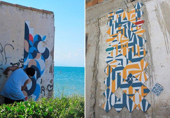 Artistas brasileiros fazem arte na rua usando azulejos coloridos