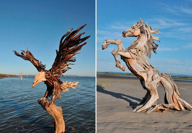 Artista cria surreais esculturas de  animais feitas com sobras de madeira