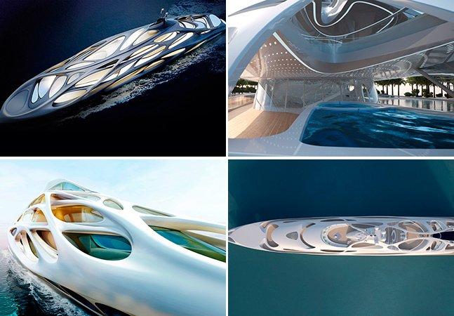 O super iate moderno da designer Zaha Hadid