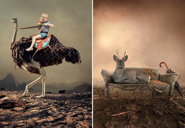 Fotógrafo cria imagens que mesclam  o cotidiano com cenas improváveis