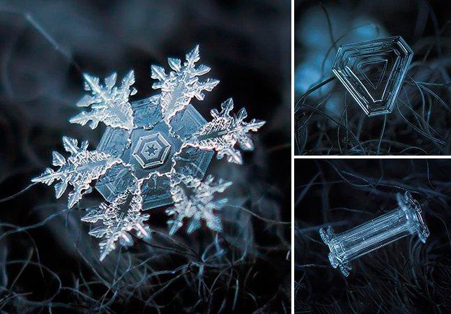 Fotógrafo usa câmera caseira para captar imagens fantásticas de flocos de neve