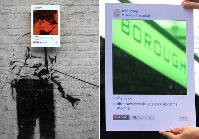 Brasileiro cria intervenção nas ruas mostrando o Instagram da vida real