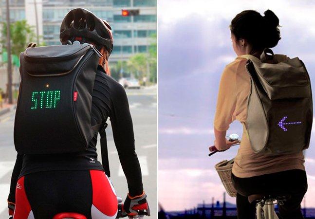 Mochila inovadora permite aos ciclistas sinalizar manobras no trânsito