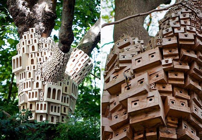 Dupla de artistas constrói condomínios para pássaros em Londres