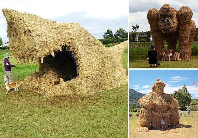 Festival no Japão reúne esculturas gigantes feitas de palha