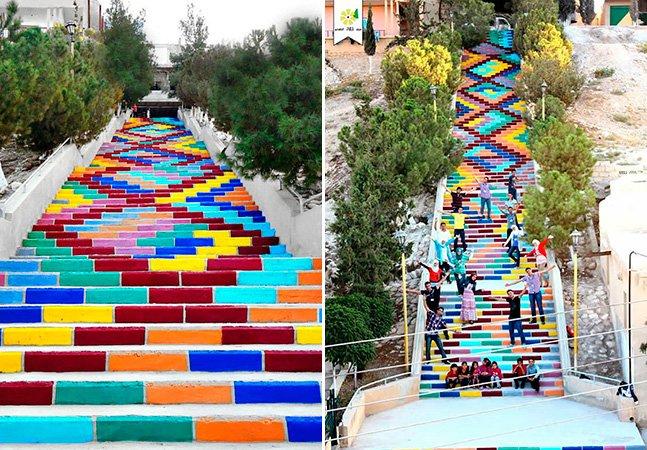 """Estudantes sírios dão cor pra sua cidade pintando a """"Escada da Paz"""""""