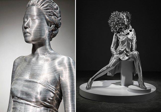 Artista cria detalhadas esculturas humanas com fios de alumínio