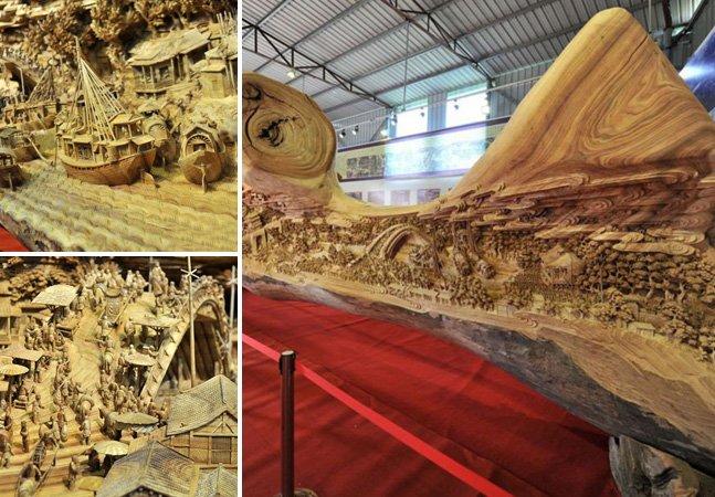 Artista passa 4 anos esculpindo a maior escultura contínua já feita em madeira