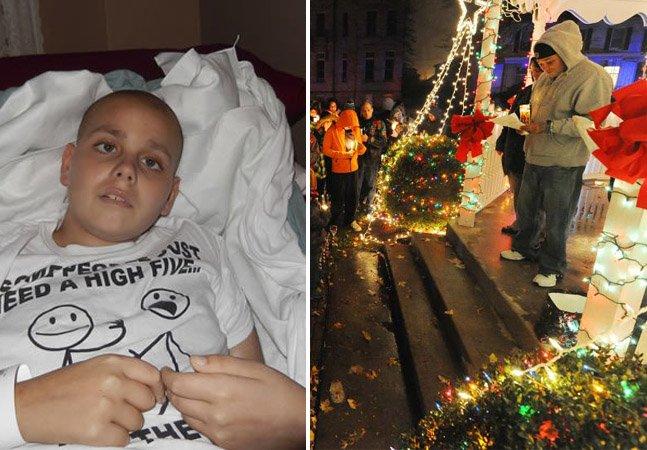 Cidade comemora Natal fora de época pra realizar sonho de menino com câncer