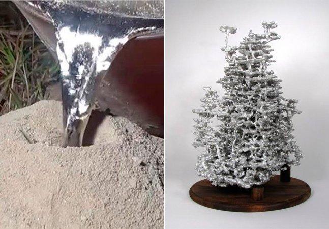 Veja o que acontece quando se joga alumínio líquido num formigueiro