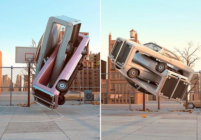 Artista cria esculturas de carros entrelaçados que parecem reais