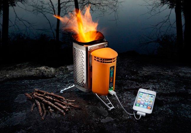 O fogareiro portátil que permite carregar seu celular enquanto cozinha
