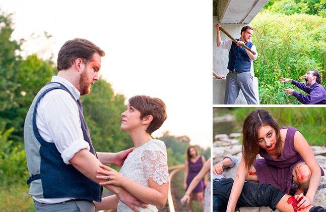 Casal transforma álbum de fotos do casamento em uma luta de zumbis