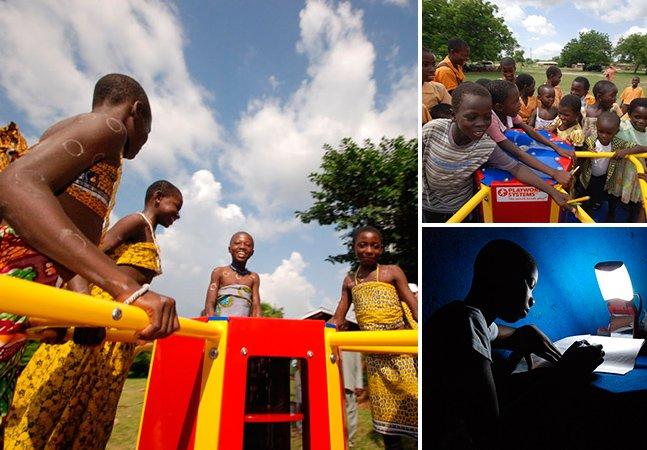 Iniciativa faz com que crianças gerem energia elétrica brincando em gira-giras