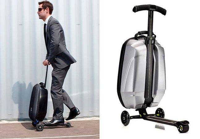 Mala com design inovador vira patinete pra viajantes com pressa