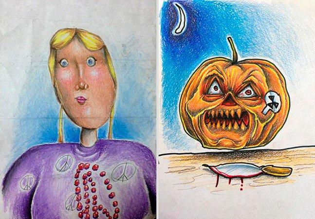 Pai criativo dá cor e completa ilustrações dos filhos