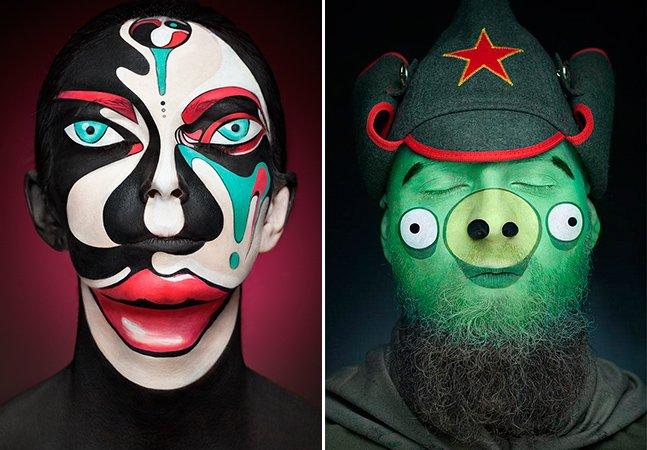 Pintura facial transforma rostos de modelos em incríveis imagens 2D