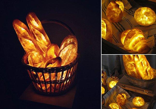 Luminárias inovadoras de LED feitas com pães de verdade