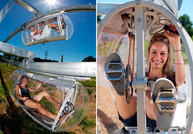 Parque de diversões tem veículo que pode ser o meio de transporte do futuro