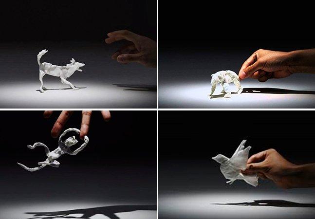 Incrível stopmotion mostra animais feitos com lenços de papel
