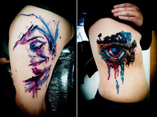 A arte na pele marcante em aquarela do artista Jay Van Gerven