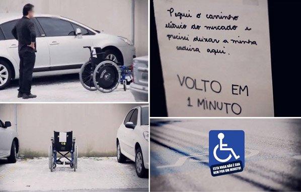Cadeirantes se vingam ocupando vagas de estacionamento comuns