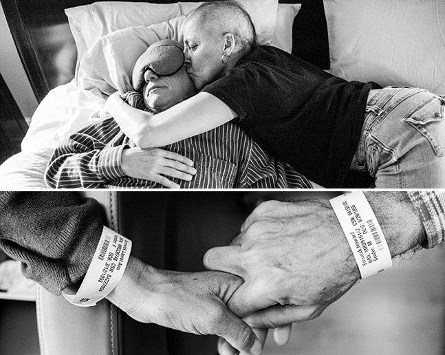 Fotógrafa registra o tratamento que os pais faziam juntos contra o câncer