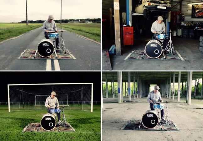Experimento mostra como uma bateria soa diferente em cada lugar