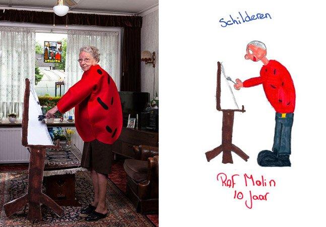 Desenhos de como as crianças veem seus avós são transformados em realidade