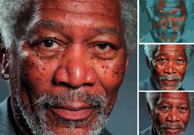 Acredite: essa imagem de Morgan Freeman foi feita inteiramente no iPad