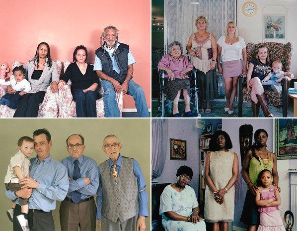 Fotógrafo cria série retratando quatro gerações das mesmas famílias