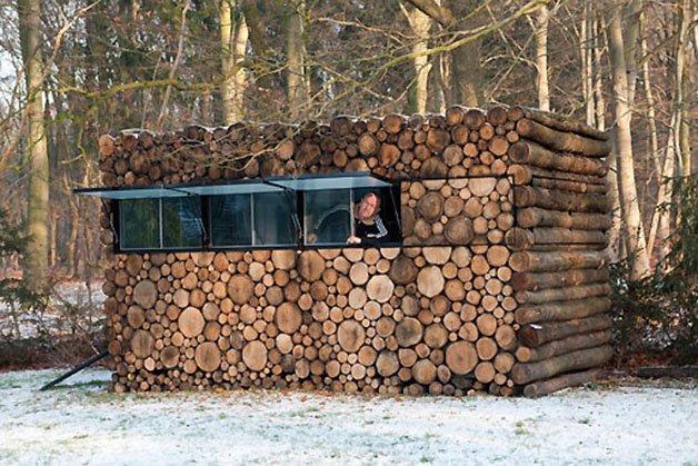 Mobiles Blockhaus-Buero | log house office on wheels