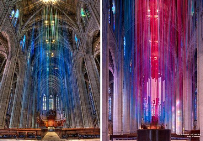Com fitas coloridas, artista cria instalação fantástica em uma catedral